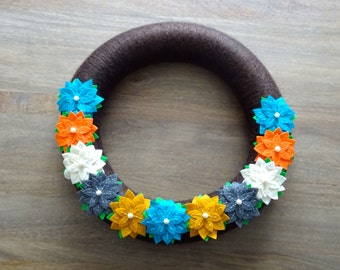 Fall Felt Flower Wreath, Felt Flower Wreath