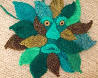Hand knitted 'Green Man' shoulder bag
