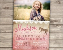 Horse Birthday Invitations Photo Rustic Lace Riding Picture JPEG Shabby Chic Country Cowgirl Theme Party girl Rustic Modern Download NV4004