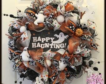Halloween Wreath, Ghost Wreath, Boo Wreath, Door Wreath, Holiday Wreath, Deco Mesh Wreath, Orange and Black Wreath