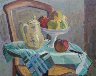 Peaches and Coffee Pot - Original Oil Painting by Hervé LE BOURDELLÈS - Twentieth Century