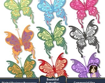 Butterfly Clipart, Digital Scrapbooking, Coloured Butterfly Scrap Kit, CU4CU