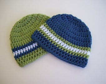 Set of 2 Hats, Twin Boy Hats, Baby Boy Hat, Crochet Baby Hat, Baby Boy, Newborn Photo Prop, Baby Boy Beanie, Newborn Hat, Blue Green White