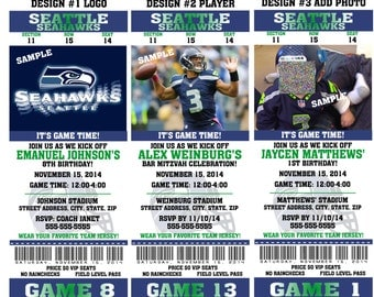 12 PER PACK Birthday Party Invitations Card Seattle Seahawks Birthday Ticket Invitation Football Weddings Baby Showers Bar Mitzvahs