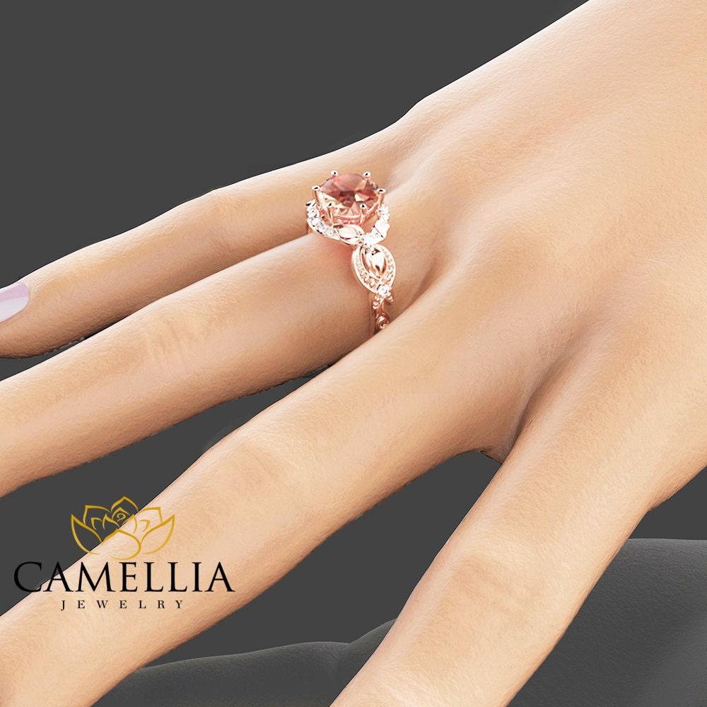 14k rose gold engagement ring rose gold morganite ring. Black Bedroom Furniture Sets. Home Design Ideas