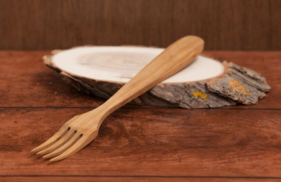 Wooden Forktwo Kitchen Cooking Utensils Toolshand Carved