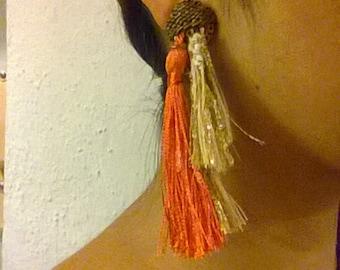 Orange tassel and woven piece earring