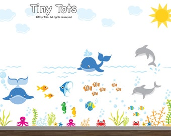 Nursery Wall Decal, Ocean Wall Decal, Sea Creature Decal, Under the Sea Decal, Nursery Wall Decal, Ocean Decal, Kids Decal