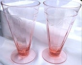 Vintage Pair of Pretty Pink Depression Iced Tea glasses Footed Tall glasses can be used for Soda or Milk Shakes, too.  From 1920's-1930's