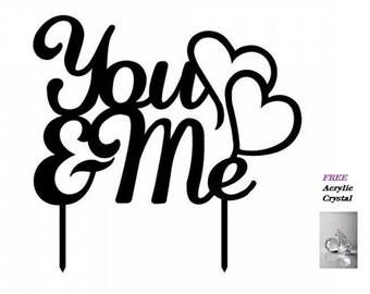 You & Me Acrylic Wedding Cake Topper