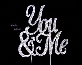 Real Rhinestone You & Me Wedding Cake Topper