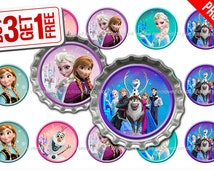 Disney Frozen Bottle Cap Images - 1 inch size - Suitable for Hair Bows, Magnets, Scrapbooking, Stickers etc - High Resolution Images (008)