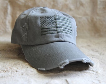 OD GREEN Distressed Special Forces Operator Tactical American US Flag Hat