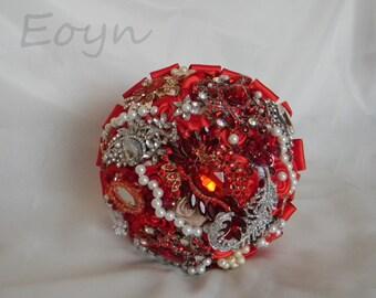 Bride bouquet,FULL PRICE,brooch bouquet,red wedding bouquet