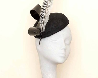 Black  Fascinator Headpiece Royal Ascot Hat