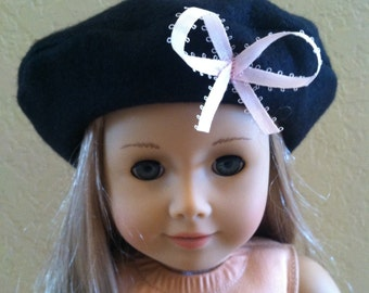 American girl grace inspired doll hat beret black