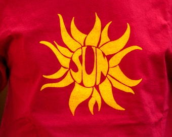 SUN Hand-Crafted Screen-Printed 100% Cotton T-Shirt in Red & Yellow