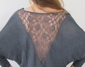 Woman's Grey Open Lace Back Top, Cowl Neck Top, Women's Off The Shoulder Blouse, Long Sleeves Blouse Open Back, Grey Shirt, Fall Fashion