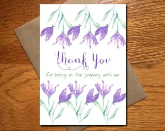 Every Day Spirit / Watercolor Thank You Card / Floral Thank You Card / Beautiful Thank You Card / Pretty Thank You Card / 5x7