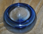 Large Crystal Bowl ROYAL COPENHGEN in Blue  1960s