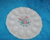 Egg PLATE Server E&R American Art  with Flowers