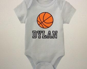 Personalized basketball onesie; baby boy onesie; onesies for boys; sports onesies