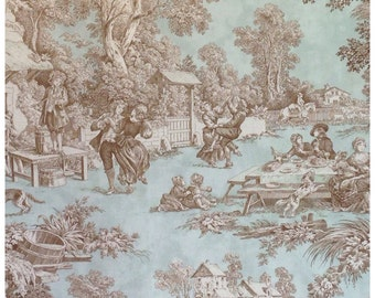 "Toile de Jouy Fabric ""Lutece""/Mint and Chocolate"