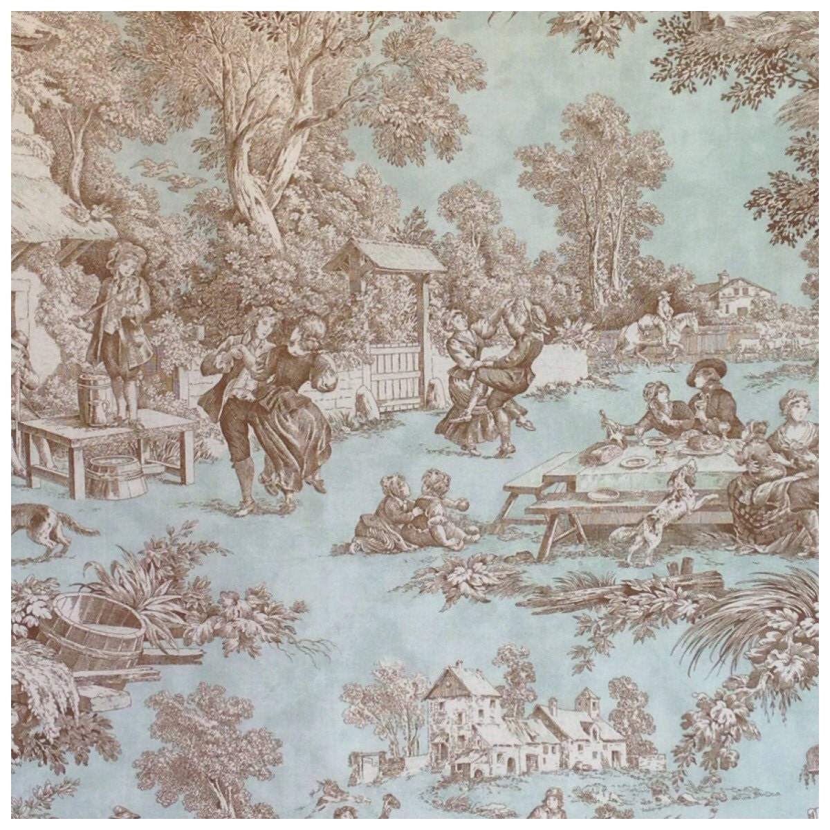 toile de jouy fabric lutece mint and chocolate from. Black Bedroom Furniture Sets. Home Design Ideas