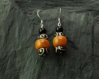 Jewelry for Bema Amber Black and White Dangle Earrings