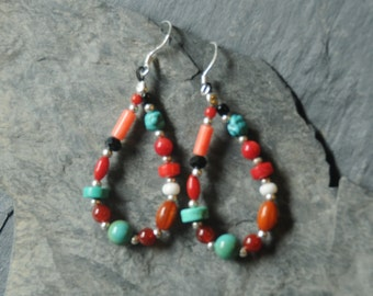 Jewelry for Bema Coral, Turquoise and Agate Stone Dangle Earrings