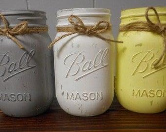 Set of 3 Rustic Pint Size Painted Ball Mason Jars. Yellow White Gray. Vintage looking Painted Mason Jars. Nursery. Party. Wedding. Decor.