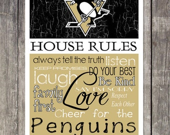 Pittsburgh Penguins House Rules 4x4.1/2 Fridge Magnet