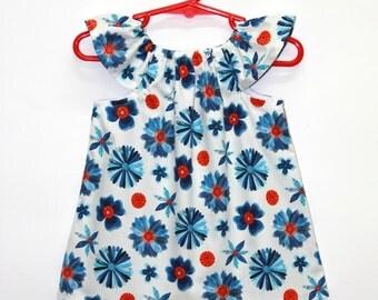 Organic cotton, baby dress, baby girl dress, organic baby dresses,organic dress,organic kids clothes,organic baby, blue, red,Blooms