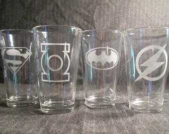 Superhero Pint Glass Set of 4 DC Comics