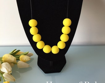 Bright yellow necklace, bold, colourful. Statement necklace. Yellow jewellery. Adjustable necklace. Colourful jewellery