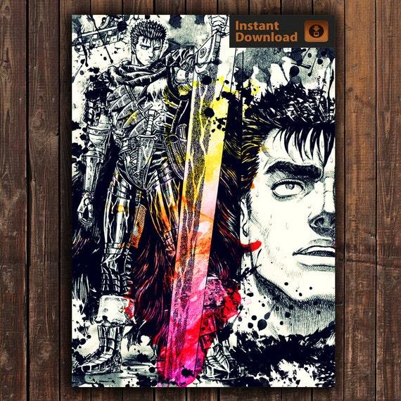 Berserk Guts Digital Poster Digital Print Anime By AnimePoster