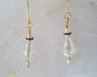 Earrings dangling crystal wedding, earrings dangling ceremony