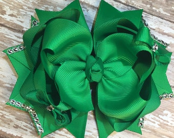 XL emerald green st patty boutique hair bow 6 inches