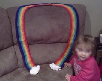 rainbow scarf, long adult length, with fluffy white clouds, crochet