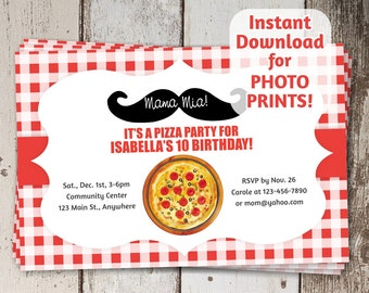 Pizza Mustache Birthday Party Invitation - Instant digital file download - Photo prints or card stock   Make your own Italian pizza - Italy