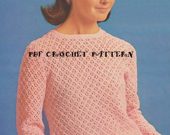 Vintage Lacy Blouse and Head Scarf, Crochet PDF Pattern