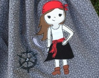 Fishnet Bonnie Pirate Girl Sketchy Free-Motion Appliqué Pattern