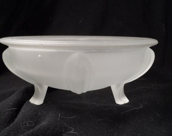 Candy Bowl-Frosted Glass Three Footed Bowl-Frosted Glass Candy Dish