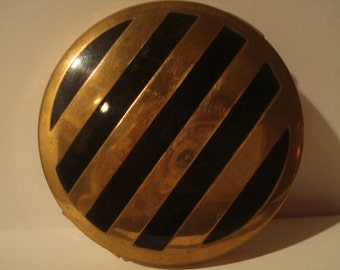 Vintage Majestic enamel and brass compact