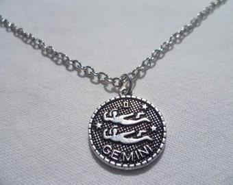 Gemini silver necklace,zodiac necklace,star sign,birthday,pendant,gift,horoscope, zodiac jewellery