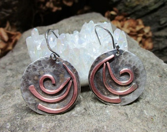 Bo - 126 earring in 925 Silver, (sterling), and copper, free shipping / Free Shipping