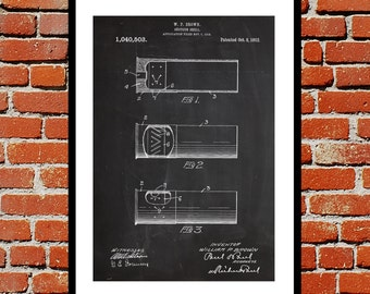 Shotgun Shell Print, Shotgun Shell Patent, Shotgun Shell Art, Artillery Shell Decor, Shotgun Art, Shotgun Wall Art  p263
