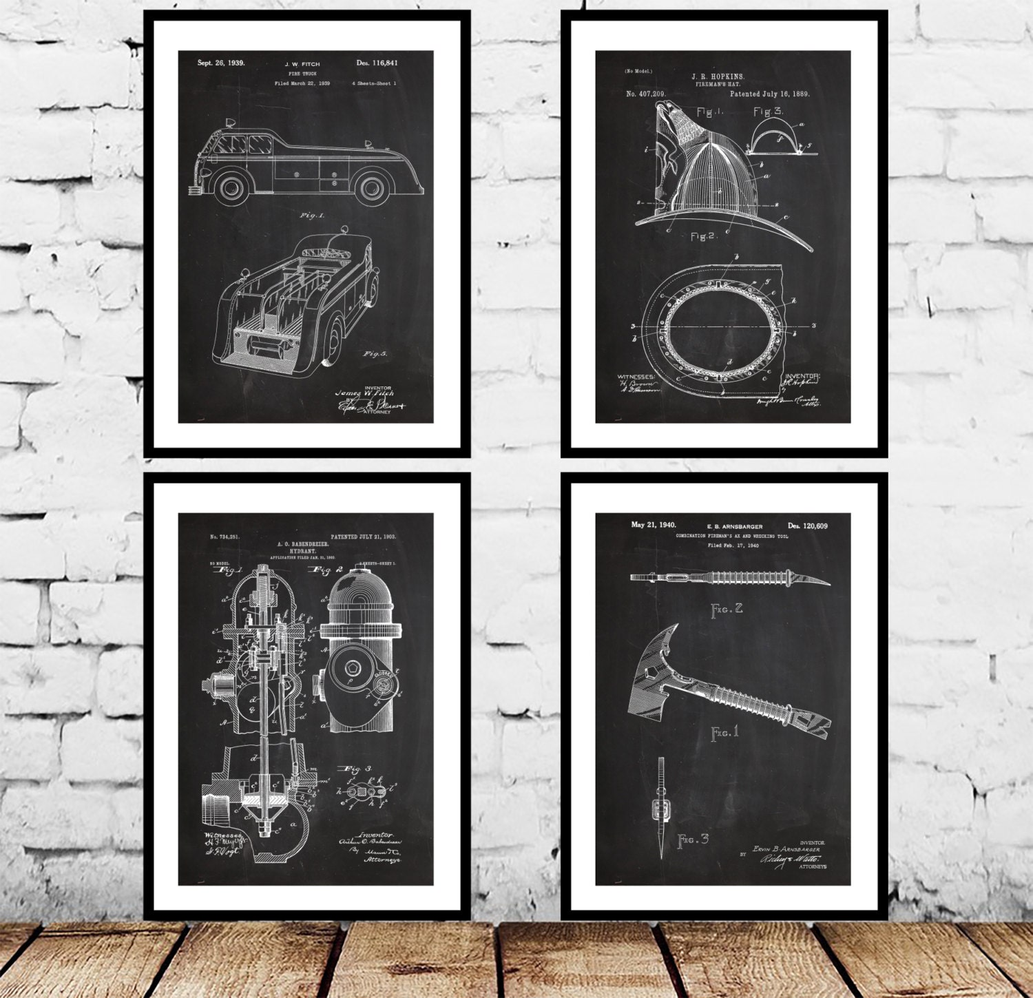 Firefighter Patent 4 Pack Firefighter Poster Firefighter Art Firefighter Decor Firefighter Wall