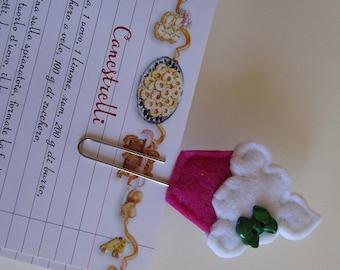 Paper clip with felt cupcake - Felt bookmark -  Back To school - Gift under 5 - Gift for readers/children/teachers