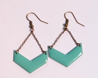 Boucles d'oreilles chevrons bleu turquoise
